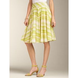 Talbots Green Yellow White A-Line Skirt Size 20